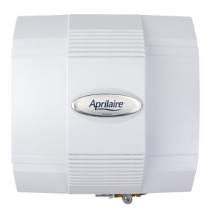 The square-looking Aprilaire 700 is set in front of the camera with the company logo facing forward, occupying most of the frame