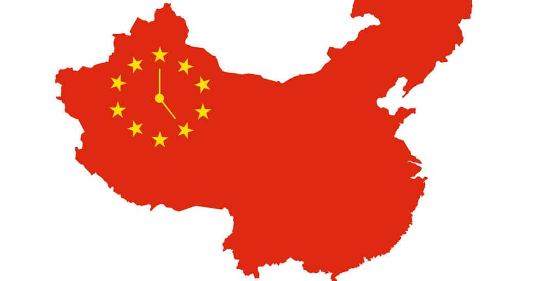 Red outline of China and it's single time zone representation