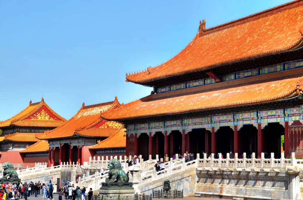 View of one of the ornate buildings at the Forbidden City in China