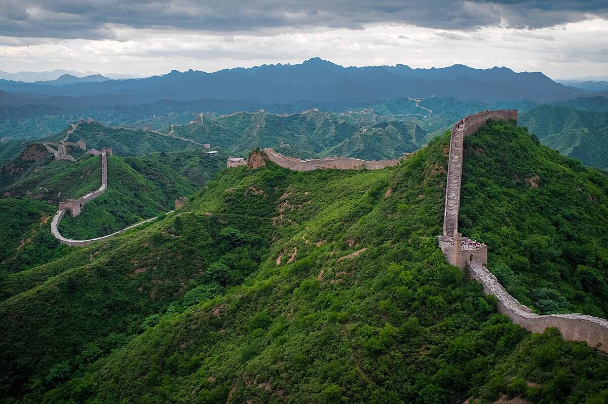 View of grass growing alongside the Great Wall of China