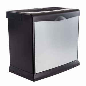 We can see the aluminum-colored front panel of this humidifier, as well as its black bottom, side, and top