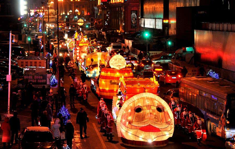 View of the a parade in China during Christmastime