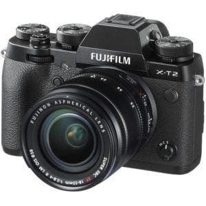 The Fujifilm TX-2 Mirrorless Digital Camera with 18-55mm lens is placed at a slight angle to the left
