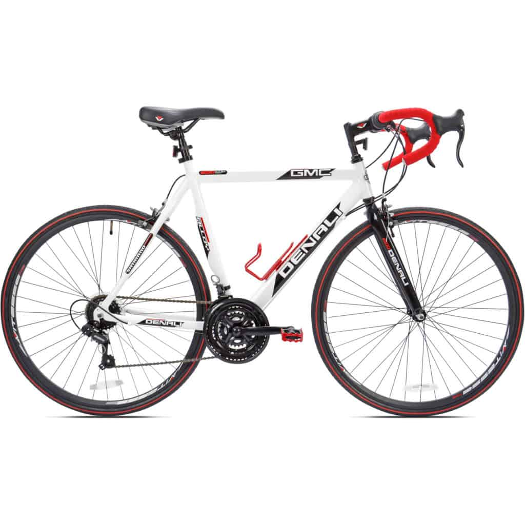 One of the road bikes that comes with a water bottle cage, the GMC Denali