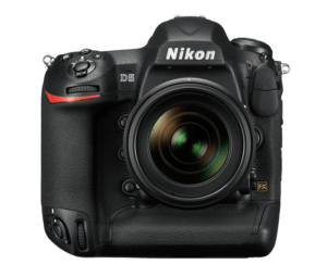 The professional and sturdy Nikon d5 is facing the camera with the shutter open