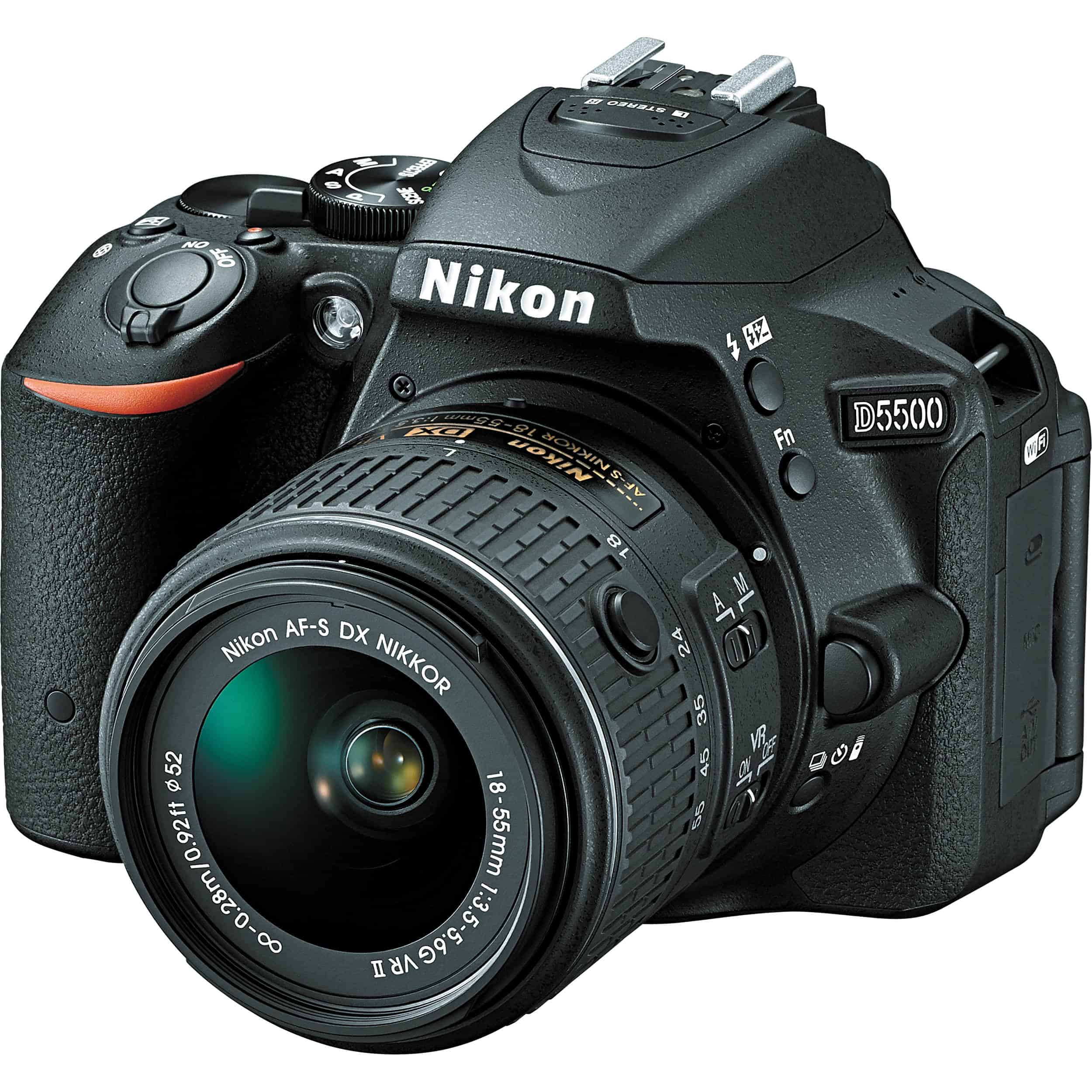 The camera has the company logo facing the camera and the shutter open and without its protective lens on
