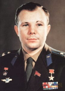 Yuri Gagarin wears his Soviet uniform adorned by all the medals he won while serving his country