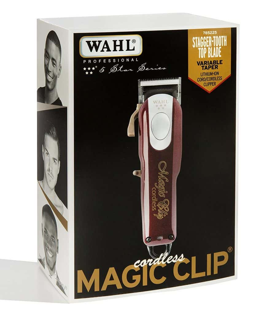 A cordless barber clipper, the Magic Clip by Wahl
