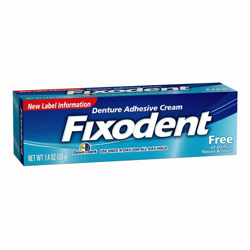 A tube of Fixodent Complete Free Denture Adhesive Cream