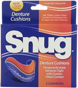 A blue and orange box of Snug Dental Cushions is shown in the image