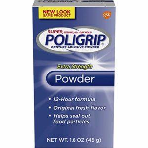 The blue box of Super Poligrip Extra Strength Powder