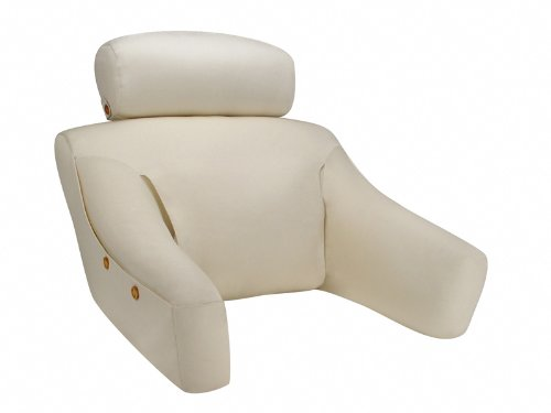 Photograph of the sleek BedLounge classic husband pillow with a cotton exterior