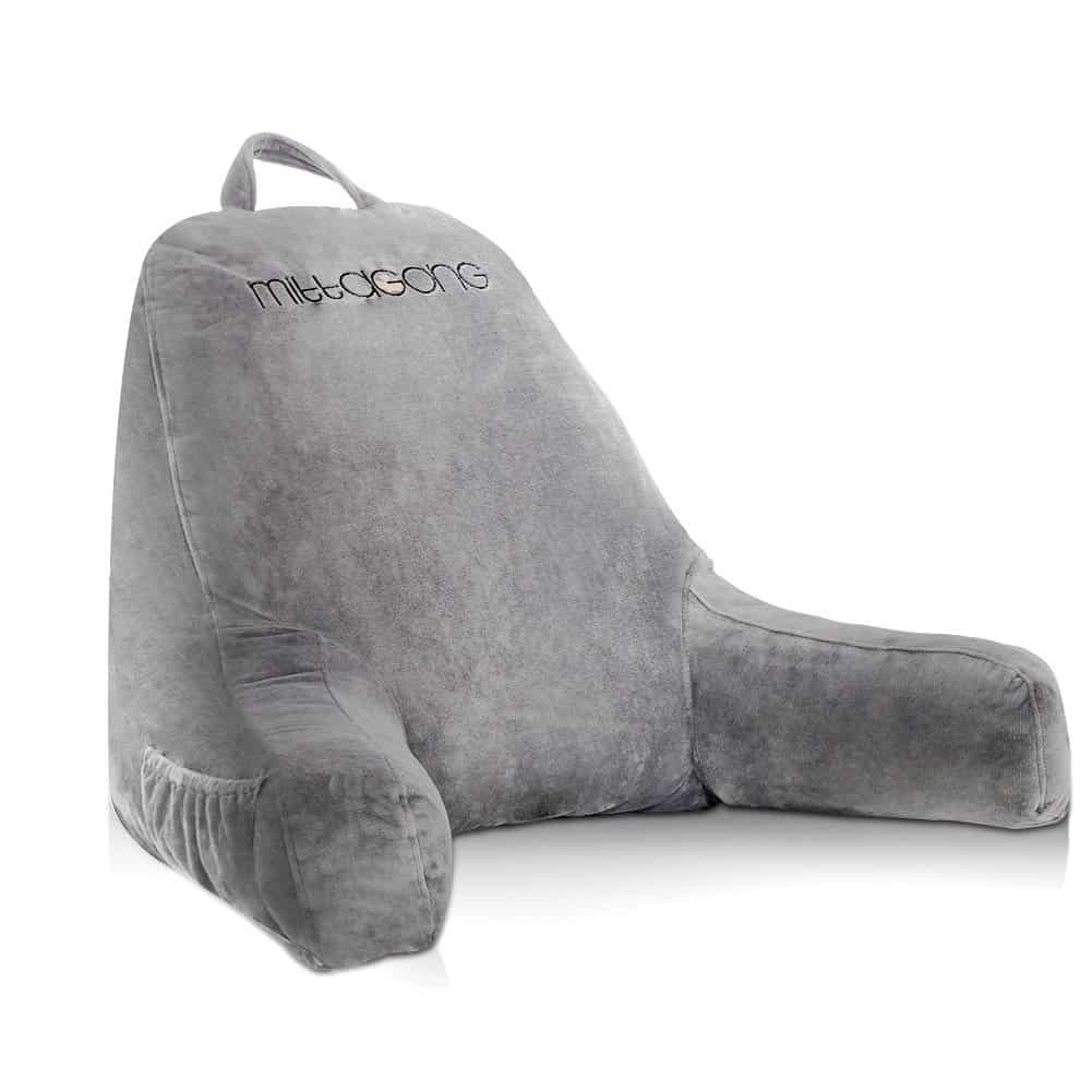 Photo of the gray velour cover Mittagong reading pillow