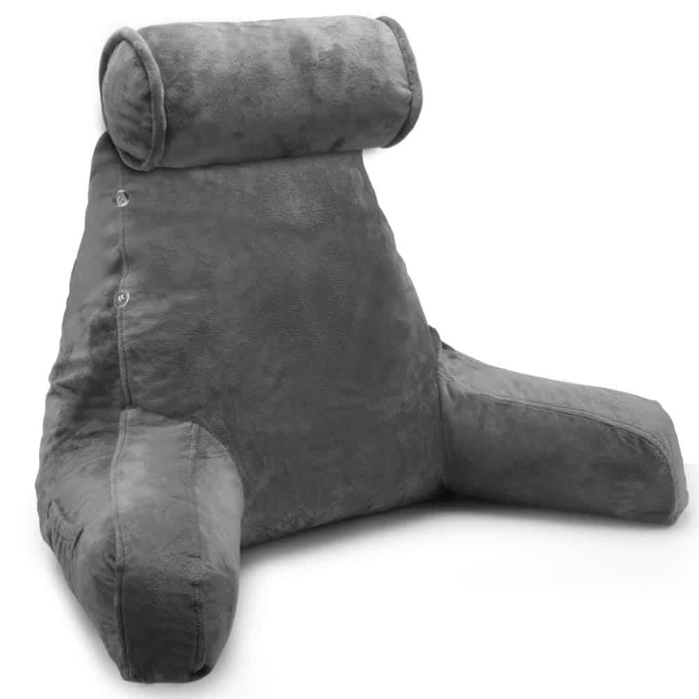 Photograph of the Springcoo reading pillow with its detachable neck roll on