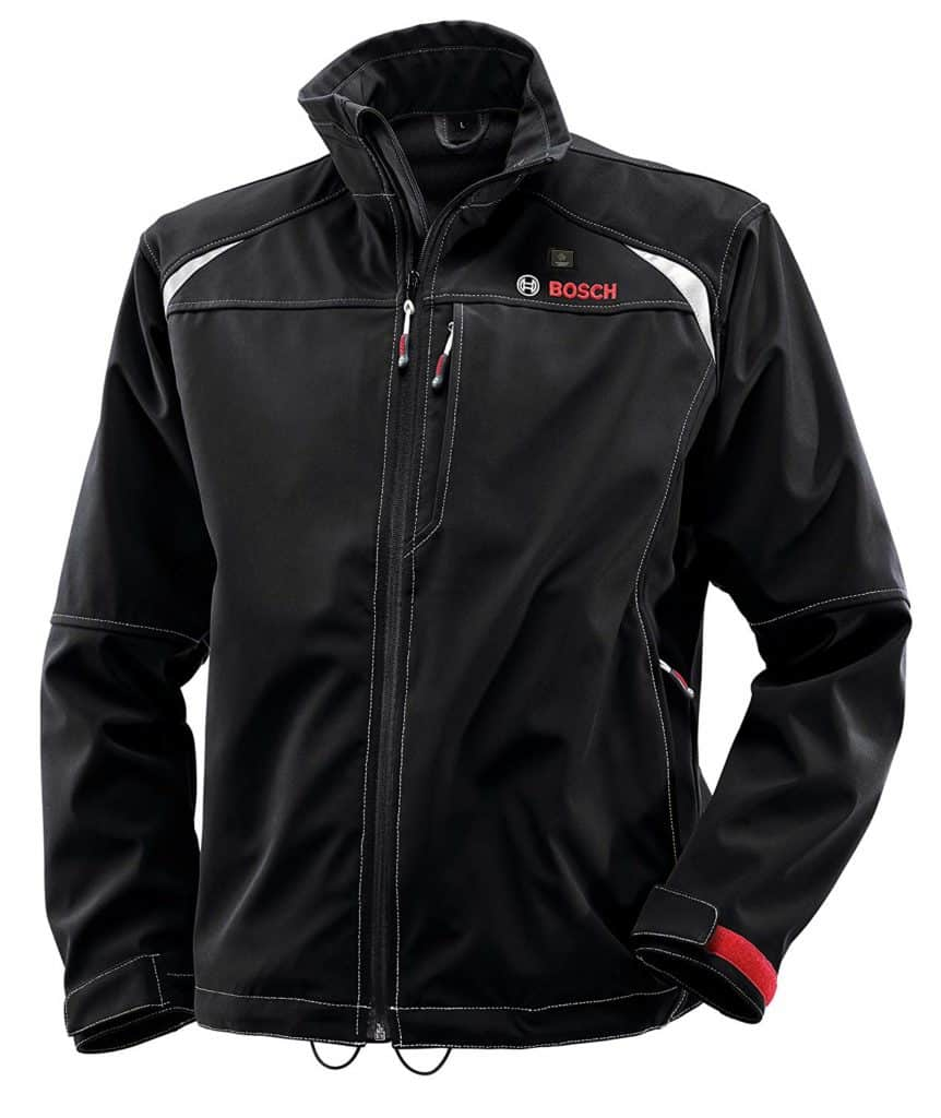 A black Bosch 12V heated jacket is posed in front of the camera
