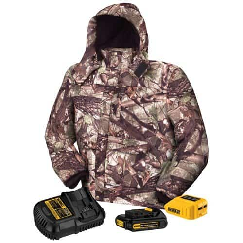 The Dewalt 20V Max Coat comes in camo and with a jacket kit made up of a battery and charger