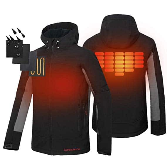 The image shows the front and back of a heated jacket including the heat zones and the waterproof outside fabric