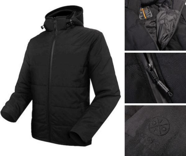 The picture shows the Ororo Man's Heated Jacket and its zipper and pocket details