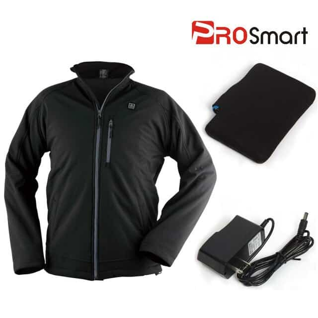 The image shows the PROsmart Heated Coat and a battery and charger that come with the order