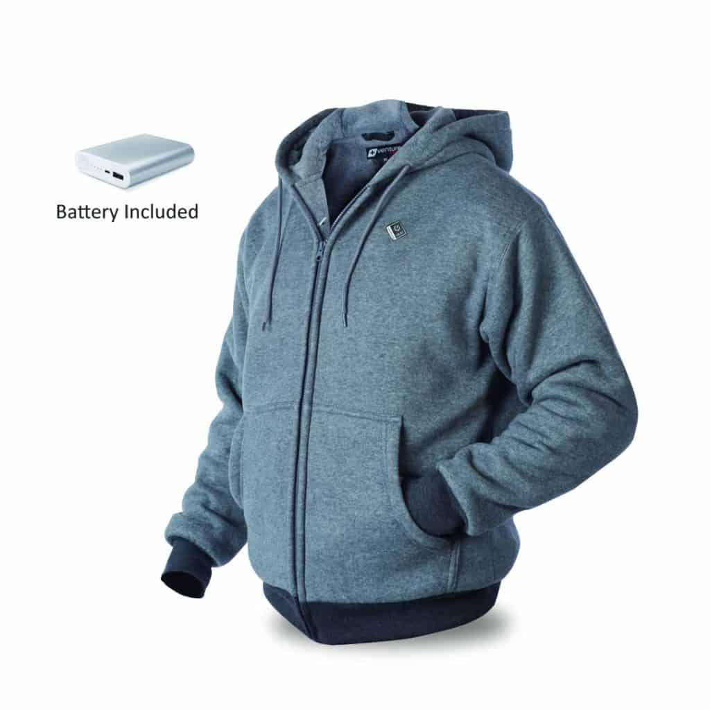 The Venture Heat Heated Hoodie comes with a battery and charger included in the order