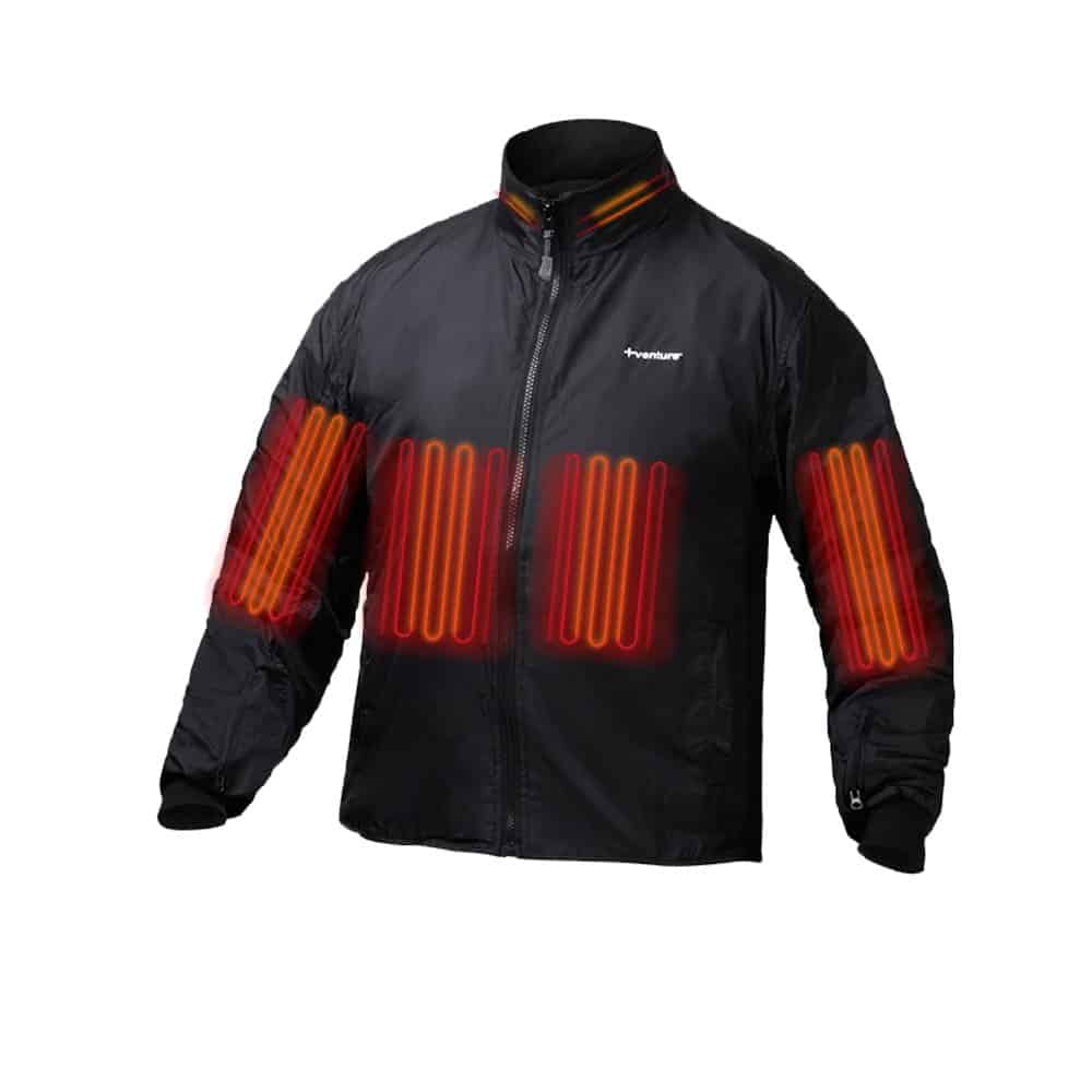 The red bars across the chest and sleeves of the Venture Heat Deluxe Jacket show the heat zones