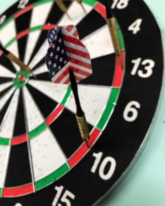 Dart Board with the us flag