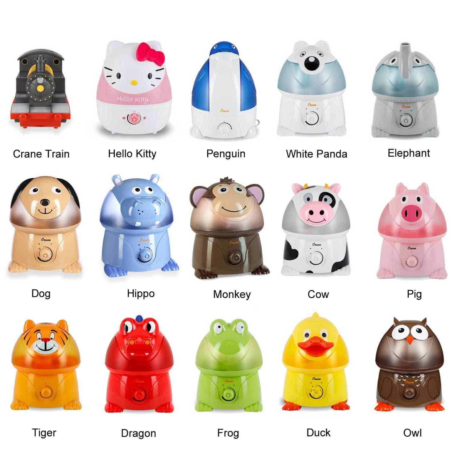 A collection of animal shaped humidifiers is displayed