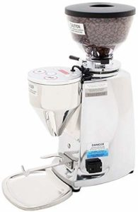 The Mazzer Mini Electronic Coffee & Espresso Grinder is pictured over a field of white